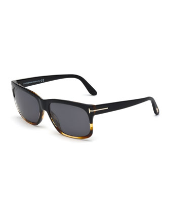 Barbara Polarized Rectangle Sunglasses, Black