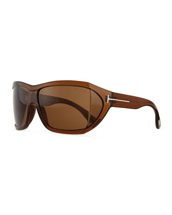 Sedgewick Wrap Sunglasses, Brown
