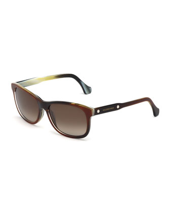 Colorblock Square Acetate Sunglasses, Brown