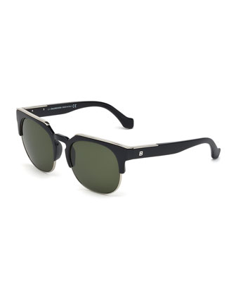 Semi-Rimless Square Sunglasses, Black