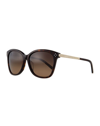 Boxwood Crystal-Arm Sunglasses, Havana
