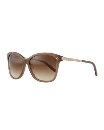 Boxwood Crystal-Arm Sunglasses, Turtledove