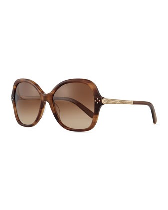 Boxwood Crystal-Arm Butterfly Sunglasses, Brown Stripes