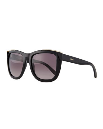 Dallia Crystal Arrow Square Sunglasses, Black