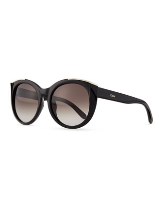 Dallia Crystal Arrow Round Sunglasses, Black
