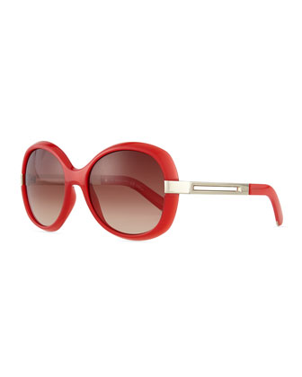 Bianca Oval Sunglasses, Coral