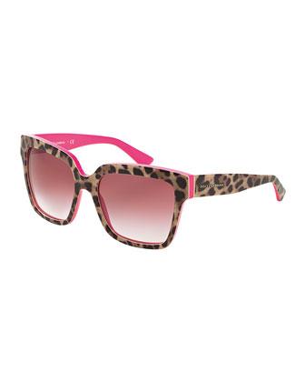 Square Acetate Sunglasses, Leopard/Fuchsia