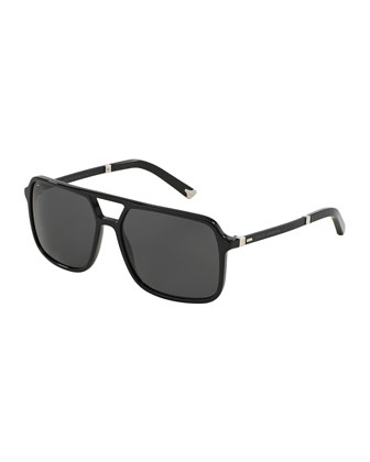 Mixed-Media Rectangular Aviator Sunglasses, Black