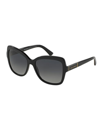 Polarized Acetate Butterfly Sunglasses, Black