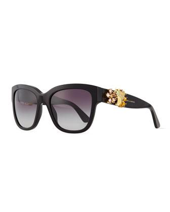 Jewel-Encrusted Sunglasses, Black