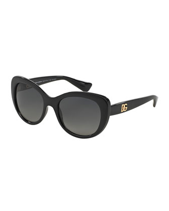 Polarized Round Cat-Eye Sunglasses, Black