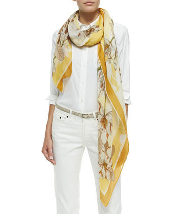 Le Magnolie Soffio Scarf, Yellow