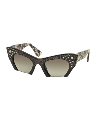 Cat-Eye Jewel-Encrusted Sunglasses, Green