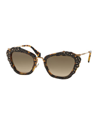 Jeweled Cat-Eye Acetate Sunglasses, Havana