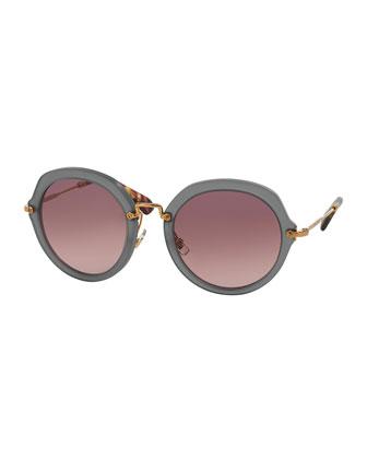 Round Acetate Sunglasses, Gray