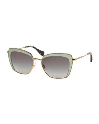 Cat-Eye Acetate Sunglasses, Green