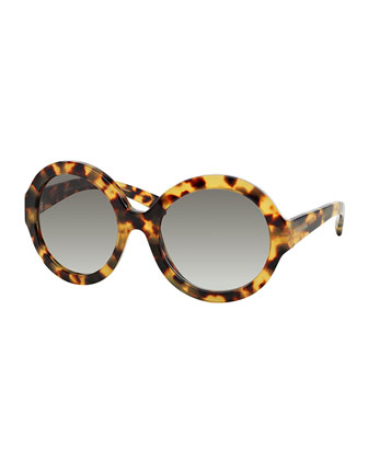 Thick-Rim Round Sunglasses, Havana