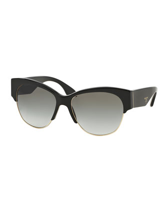 Semi Rimless Cat-Eye Sunglasses, Black