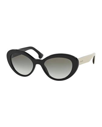 Thick Rim Oval Sunglasses, Black