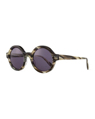 Frieda Round Sunglasses, Gray/Havana