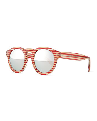 Leonard Mirror Round Sunglasses, Red/White Stripes