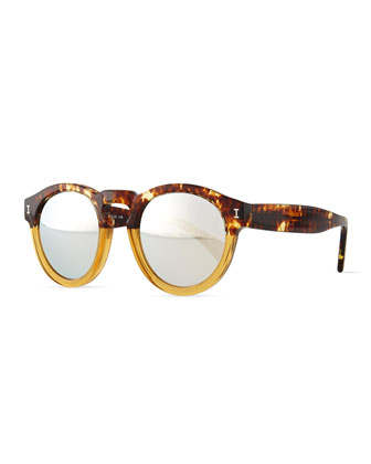 Leonard Mirror Colorblock Round Sunglasses, Havana