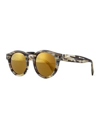 Leonard Mirror Round Sunglasses, White Havana