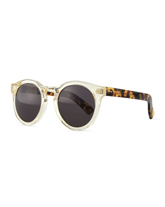 Leonard II Round Sunglasses, Clear