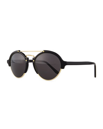 Milan II Round Mirror Sunglasses, Black/Gold