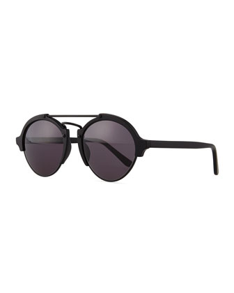Milan II Round Mirror Sunglasses, Black
