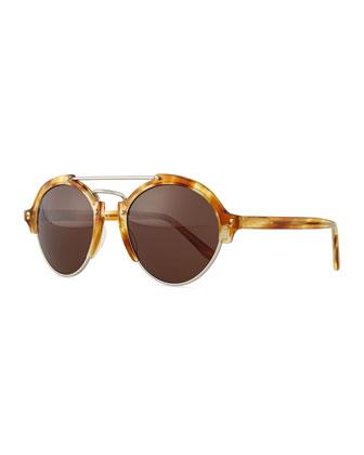 Milan II Round Mirror Sunglasses, Havana