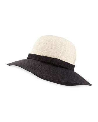 webbing colorblock sun hat, black/white