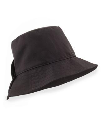bow-back bucket hat, black