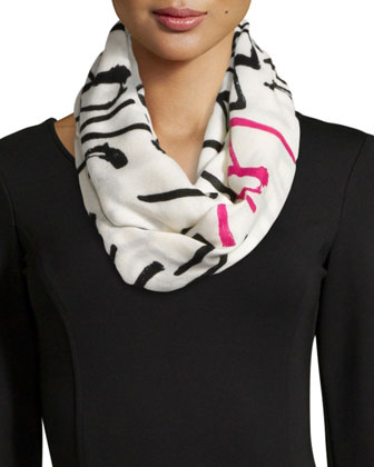 love print infinity scarf, cream