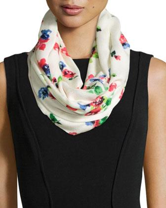 spring garden infinity scarf, cream