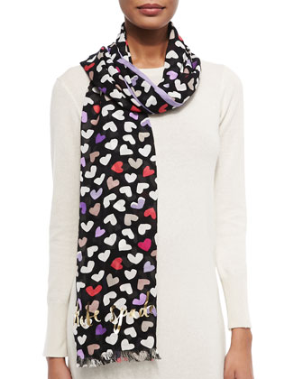 dancing hearts scarf, black