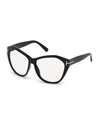 Squared Cat-Eye Fashion Glasses, Black