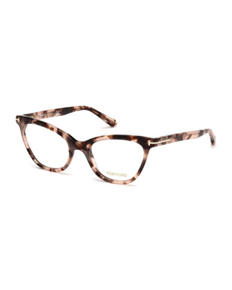Slight Cat-Eye Fashion Glasses, Havana Tortoise
