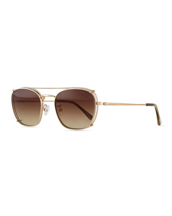 Rounded Square Fashion Glasses, Rose Golden