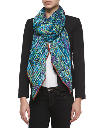 Embroidered-Edge Paisley Scarf