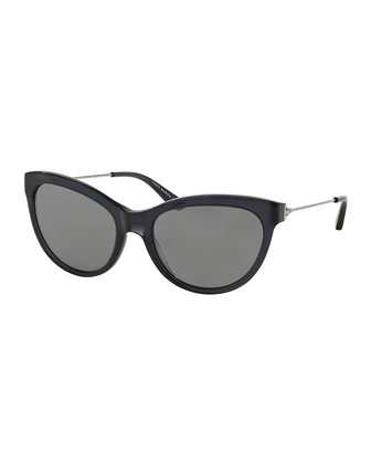 Cat-Eye Sunglasses, Black/Silver Mirror