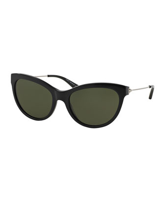 Cat-Eye Sunglasses, Black/Silver