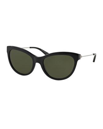 Cat-Eye Sunglasses, Black/Silver