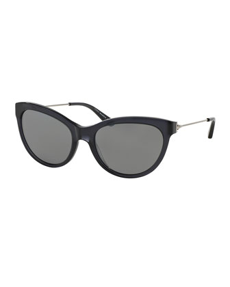 Universal Fit Cat-Eye Sunglasses, Black/Silver Mirror