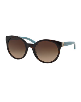 Round Colorblock Sunglasses, Tortoise
