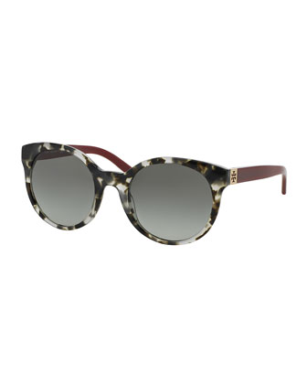Universal Fit Round Sunglasses, Gray Tortoise