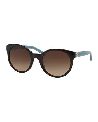 Universal Fit Round Sunglasses, Tortoise