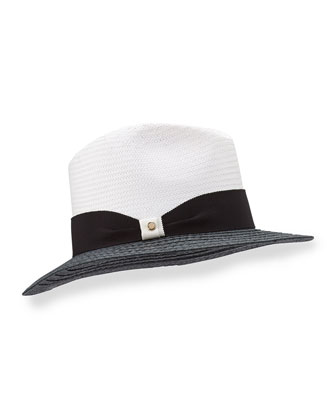 Indi Two-Tone Hat, Black/White