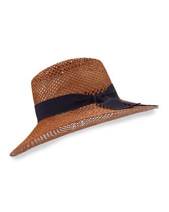 Kathleen Fine Panama Hat, Orange/Blue