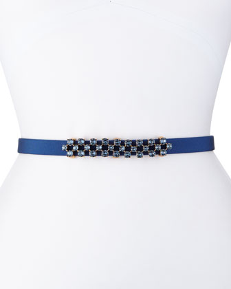 Thin Stone-Grid Silk Faille Belt, Navy